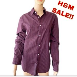 NWT ❤️ H&M Red and Blue Plaid Shirt Size M